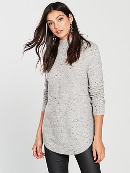 wallis-nepp-curve-hem-polo-neck-jumper-grey