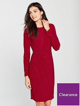 wallis-tucked-jersey-shift-dress-red