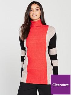 wallis-stripe-compact-knitted-jumper-orange