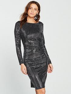 wallis-wave-sparkle-dress-silvernbsp