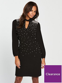 wallis-pearl-shoulder-shift-dress-black