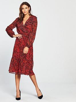 wallis-wallis-animal-midi-dress-red