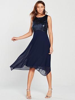 wallis-sequin-hanky-hem-dress--nbspblue