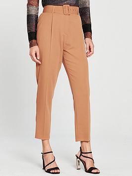 wallis-pique-high-waist-self-belt-trouser-toffee