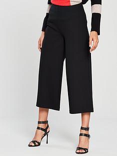 wallis-ponte-crop-wide-leg-trouser-black