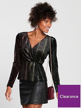 warehouse-glitter-wrap-velvet-blouse-black