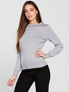 oasis-nina-cute-frill-knitted-jumper-pale-grey