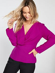 warehouse-pleated-waist-insert-blouse-pink