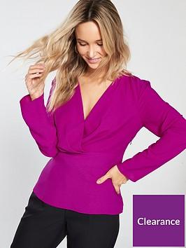 warehouse-pleated-waist-insert-blouse-pink