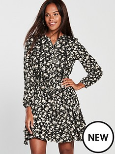 oasis-ditsy-sleeve-hem-blouse-dress-black
