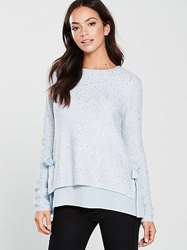 oasis-sequin-woven-mix-bow-side-jumper