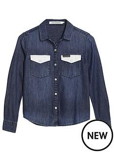 calvin-klein-jeans-girls-contrast-pocket-long-sleeve-denim-shirt-dark-blue