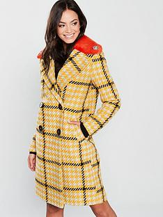 river-island-river-island-check-coat-with-faux-fur-contrast-collar-yellow