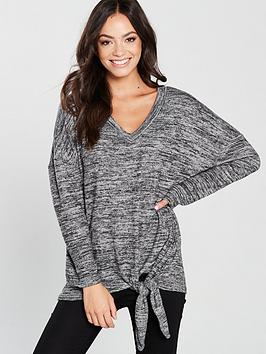 river-island-river-island-tie-front-relaxed-jersey-top-grey