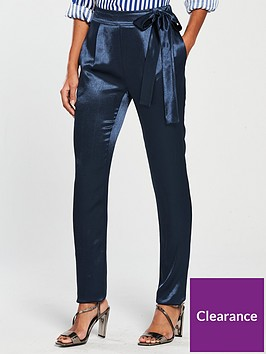 v-by-very-hammered-satin-tapered-trouser-navy