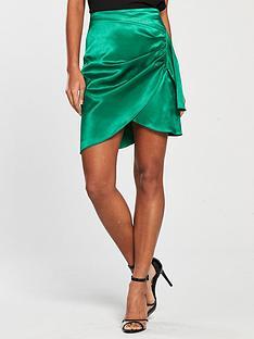v-by-very-satin-mini-wrap-skirt-green