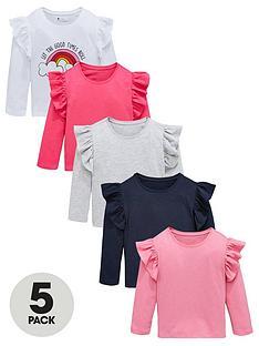 mini-v-by-very-girls-5-pack-long-sleeve-ruffle-shoulder-t-shirts-multi