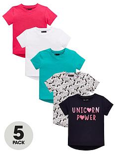 mini-v-by-very-girls-5-pack-short-sleeve-plain-and-unicorn-print-t-shirts-multi