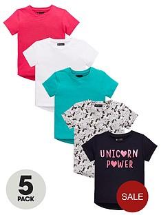 mini-v-by-very-girls-5-pack-short-sleeve-plain-and-unicorn-print-t-shirts-multi
