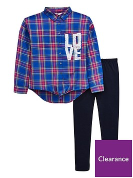 v-by-very-girls-2-piece-tie-knot-check-shirt-and-leggings-outfit-multi