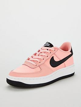 new styles f841e 49c4f Nike Air Force 1 Valentines Day Junior Trainers - Pink Black