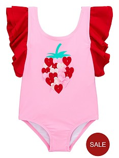713def6bec7 Mini V by Very Girls Strawberry Ruffle Frill Swimming Costume - Pink/Red