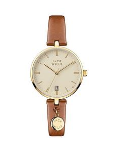 jack-wills-jack-wills-cream-with-gold-detail-date-dial-and-charm-brown-leather-strap-ladies-watch