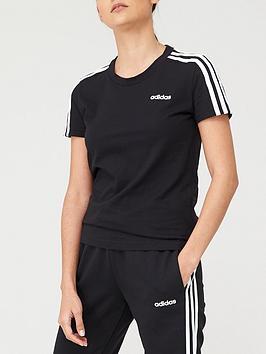 Adidas   3 Stripe Slim T-Shirt - Black