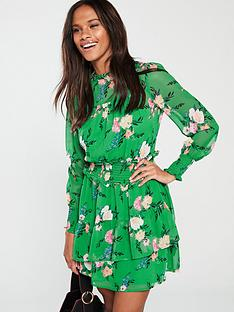 v-by-very-shirred-waist-tea-dress-green-floral