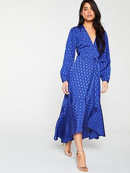V by Very V By Very Jacquard Wrap Maxi Dress - Blue Spot Picture