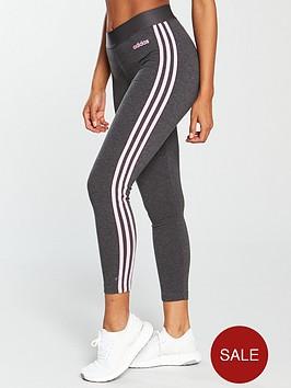 4872385965746 adidas Essentials 3 Stripe Tight - Dark Grey Heather   littlewoods.com