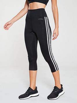 Adidas   D2M High Rise 3/4 Tonal 3 Stripe Tight - Black