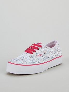 5ad7f9a126 Vans Glitter Authentic Junior Trainers - White Pink