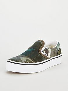 bbd08556d078e2 Vans Classic Camo Slip-On Junior Trainers - Green White