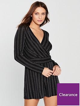 miss-selfridge-glitter-stripe-long-sleeve-playsuitnbsp--black