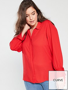 v-by-very-curve-button-through-longline-shirt-red