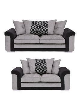 Very Carrara Fabric 3 Seater + 2 Seater Scatter Back Sofa Set (Buy And  ... Picture