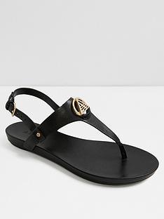 63fb6a866fde Aldo Larenalia Studded T-strap Flat Sandals - Black