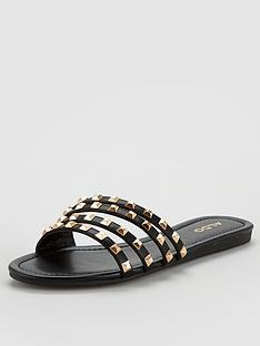 aldo-groot-studded-flat-strappy-sandals-blackgold