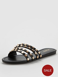 aldo-groot-studded-flat-strappy-sandals-blackgold