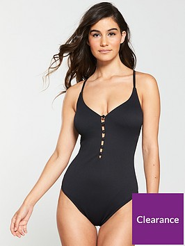 v-by-very-textured-button-front-swimsuit-black