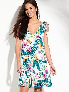 c2651db3d0 V by Very Jersey Frill Hem Tassel Shoulder Beach Dress