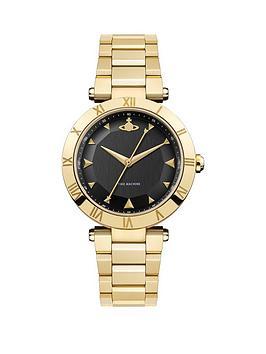 vivienne-westwood-montagu-black-and-gold-detail-dial-gold-stainless-steel-bracelet-ladies-watch