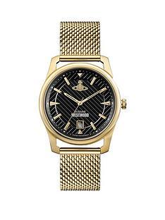 vivienne-westwood-vivienne-westwood-holborn-black-pinstripe-design-gold-detail-date-dial-gold-stainless-steel-mesh-strap-mens-watch