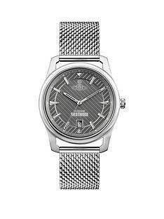vivienne-westwood-vivienne-westwood-holborn-grey-pinstripe-design-silver-detail-date-dial-stainless-steel-mesh-strap-mens-watch