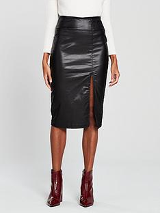 v-by-very-coated-thigh-split-midi-skirt-blacknbsp