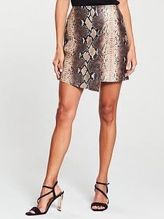 v-by-very-snake-wrap-pu-skirt-brown