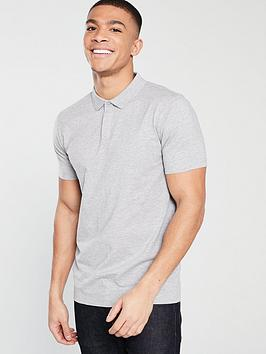 V by Very V By Very Jersey Polo - Grey Marl Picture