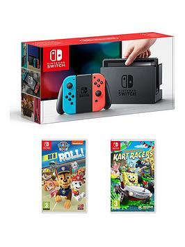 nintendo-switch-neon-console-with-paw-patrol-on-a-roll-and-nickelodeon-kart-racers