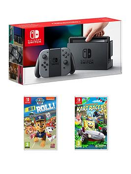 nintendo-switch-grey-console-with-paw-patrol-on-a-roll-and-nickelodeon-kart-racers